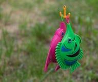 Pescados del juguete cogidos en una barra Foto de archivo libre de regalías
