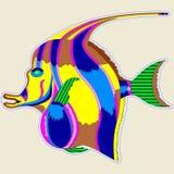 Pescados del monstruo con una aleta grande - un gran elemento del diseño o parte de la decoración stock de ilustración