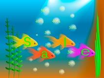 Pescados del oro con la venta de la palabra Fotografía de archivo libre de regalías