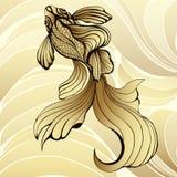 Pescados del oro, gráfico Los pescados abstractos decorativos, con las escalas de oro, encresparon aletas en un fondo amarillo y  Fotos de archivo libres de regalías