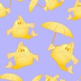 Pescados divertidos con un paraguas En un fondo de la lila Fotografía de archivo