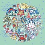 Pescados divertidos de la historieta, fondo del círculo de la vida marina Imagen de archivo