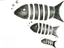 Pescados divididos en segmentos stock de ilustración