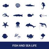 Pescados e iconos de la vida marina fijados Foto de archivo