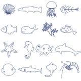 Pescados e iconos del esquema de la vida marina fijados Foto de archivo libre de regalías
