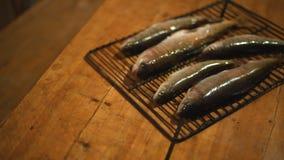 Pescados en la parrilla en la tabla metrajes