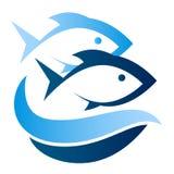 Pescados en símbolo de las ondas Foto de archivo libre de regalías