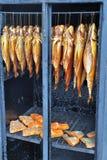 Pescados en un fumador Imagenes de archivo