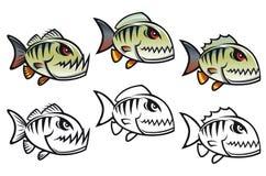 Pescados enojados de la piraña de la historieta ilustración del vector