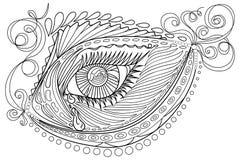 Pescados estilizados enredo y ojo abstractos del zen, aislados en el fondo blanco Bosquejo dibujado mano para la página antiesfue Foto de archivo