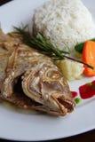 Pescados exóticos cocidos al horno en plato foto de archivo libre de regalías