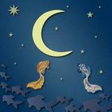 Pescados fabulosos en cielo, en el asombro que mira la luna stock de ilustración