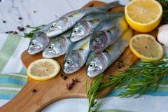 Pescados frescos con las verduras, condimento y limón, imagen de archivo