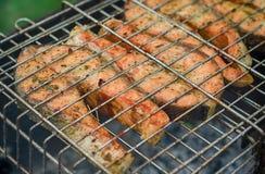 Pescados frescos en el asado a la parilla de los palillos Imagen de archivo libre de regalías