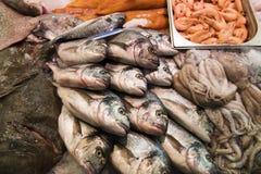 Pescados frescos en mercado Foto de archivo libre de regalías