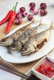 Pescados fritos cacerola Imagen de archivo libre de regalías