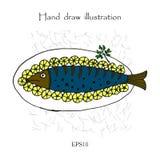 Pescados fritos con el limón en la placa, ejemplo del dibujo de la mano Fotografía de archivo libre de regalías