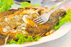 Pescados fritos con las hierbas frescas Foto de archivo