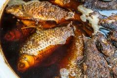 Pescados fritos en cocinar Fotografía de archivo libre de regalías