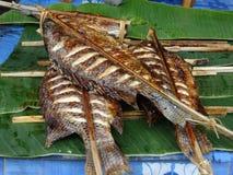 Pescados fritos en el mercado del aire abierto, Luang Prabang, Laos fotografía de archivo libre de regalías