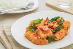 Pescados fritos picantes con la albahaca y el arroz (prao) del kra del cojín, comida tailandesa Foto de archivo libre de regalías