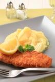 Pescados fritos y patata triturada Imagen de archivo