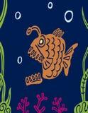 Pescados gordos depredadores carnívoros de la historieta Gráficos de vector ilustración del vector
