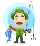 Pescados grandes del pescador del control feliz del carácter stock de ilustración
