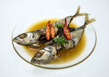 Pescados guisados de la caballa en sopa salada Imagenes de archivo