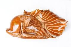 Pescados hechos a mano, hecho a mano, de madera Fotografía de archivo