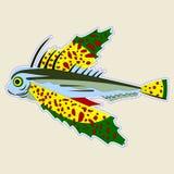 pescados Insecto-observados del monstruo con las aletas de color verde amarillo grandes libre illustration
