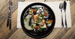 Pescados italianos en restaurante Imagen de archivo