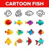 Pescados, línea fina sistema del vector exótico de la especie de los iconos ilustración del vector
