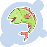 Pescados lindos del verde de la historieta Imagenes de archivo