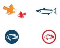 Pescados Logo Template Símbolo creativo del vector del club de la pesca o encendido ilustración del vector