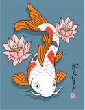 Pescados orientales - carpa de Koi - con las flores de loto Fotografía de archivo