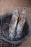 Pescados rayados del snakehead de la parrilla con la sal Fotografía de archivo