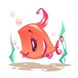 Pescados rojos de la muchacha del vector divertido ilustración del vector