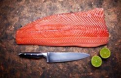 Pescados rojos frescos del filete de salmones en grunge imagen de archivo libre de regalías