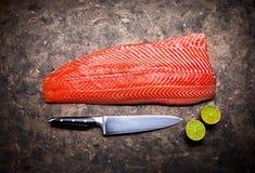 Pescados rojos frescos del filete de salmones en grunge foto de archivo libre de regalías