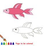 Pescados rosados Libro de colorear para los niños Imágenes de archivo libres de regalías