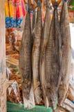 Pescados salados en el mercado, caballa de rey Foto de archivo libre de regalías