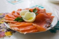 Pescados salados en la placa Fotografía de archivo libre de regalías