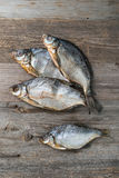 Pescados salados, preparado secada, topview fotografía de archivo libre de regalías