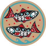 Pescados - salmones - estilo del nativo americano Fotografía de archivo libre de regalías