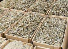 Pescados secados pequeña plata Foto de archivo libre de regalías