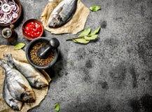 Pescados sin preparación frescos de Dorado con la salsa y las especias fotos de archivo libres de regalías