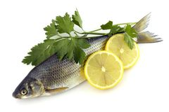 Pescados sin procesar con el limón y el perejil Imagen de archivo libre de regalías