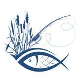 Pescados y caña de pescar debido a las cañas stock de ilustración