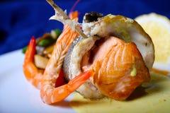 Pescados y camarones Foto de archivo libre de regalías